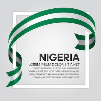 Флаг нигерии ленты, векторные иллюстрации на белом фоне