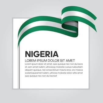 Nigeria ribbon flag, vector illustration on a white background