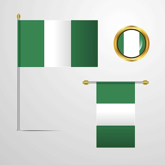 Nigeria waving flag design with badge vector
