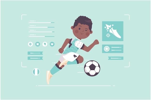 ナイジェリアのサッカー選手のかわいいキャラクターデザイン