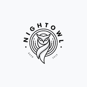 Nigh owl line art design концепция