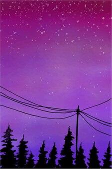 Nighfall 하늘 수채화 그림