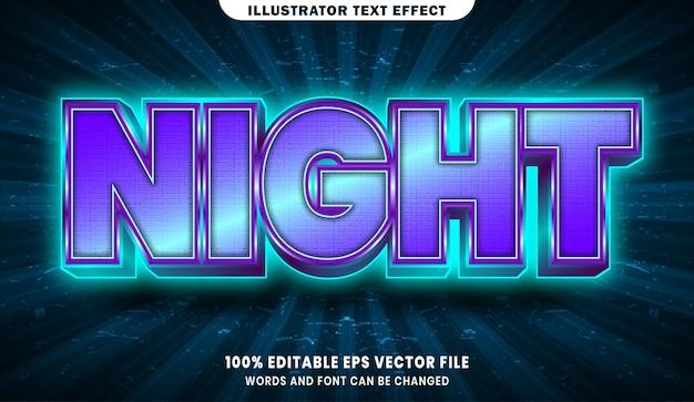 夜の3d編集可能なテキストスタイル効果