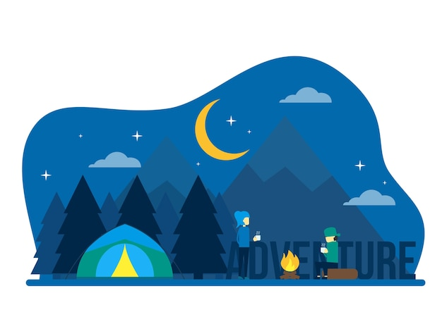 Night adventure camp people concept