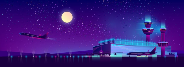 Night airport in ultraviolet colors, background