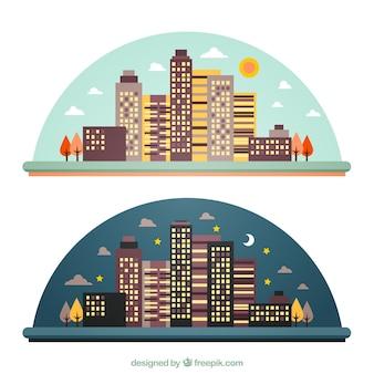 Ночные и дневные город небоскребов