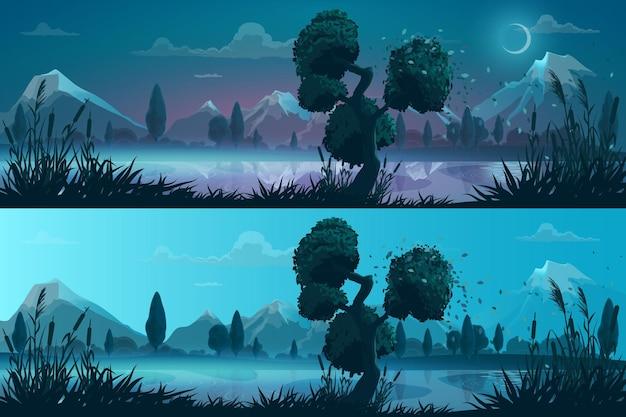 Ночью и днем озеро или пейзаж панорамы берега реки