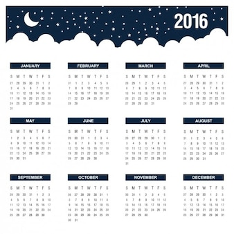 Night annual calendar 2016