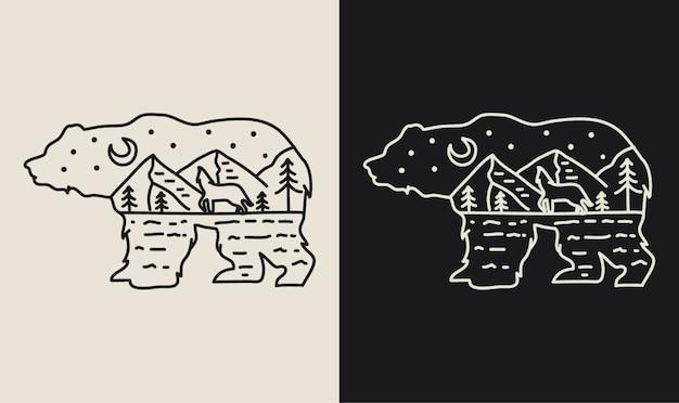 Ночь появляется внутри медведя монолайн иллюстрация