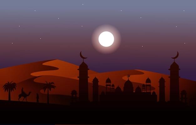 Ночь арабская пустыня караван верблюдов мусульманская исламская культура иллюстрация