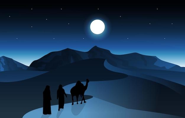 밤 아랍 사막 낙타 캐러밴 이슬람 이슬람 문화 삽화