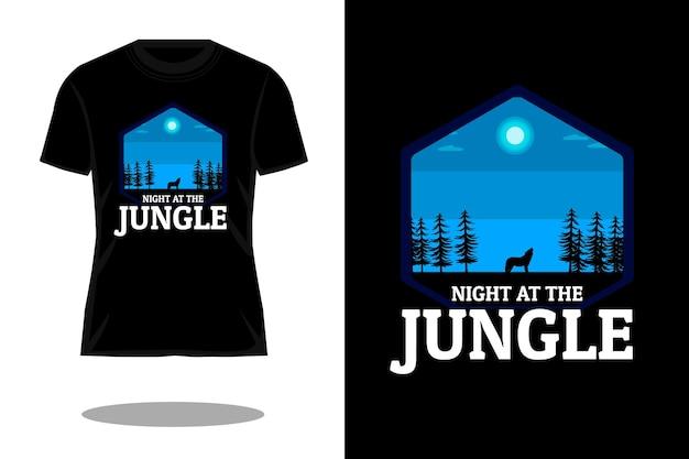ジャングルシルエットtシャツデザインの夜