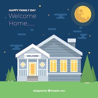 Ночной фон с декоративным домом для семейного дня