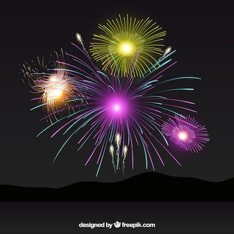 Night background with fireworks