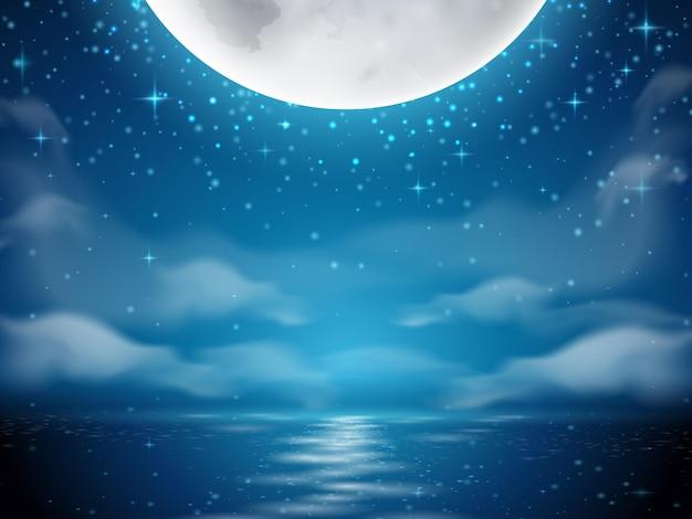 바다 강 물에 달 반사와 달과 바다 어두운 배경 밤 배경