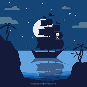 Night background with pirate ship