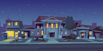 家の賃貸料と夜の背景