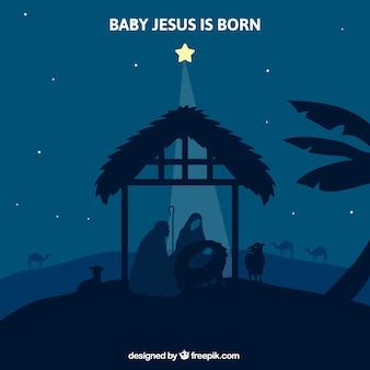 Night background with star illuminating the nativity scene