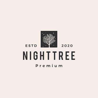 Night banyan tree hipster vintage logo