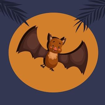 夜のバットが飛んでいます。漫画のベクトルの野生動物のイラスト。