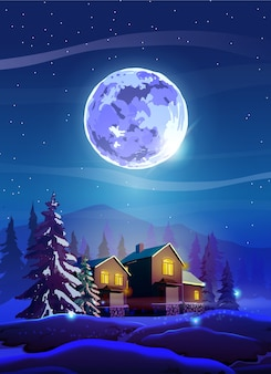 Night beautiful landscape with winter houses, trees, mountain and moon. shine with purple moon, snow and deep blue sky.