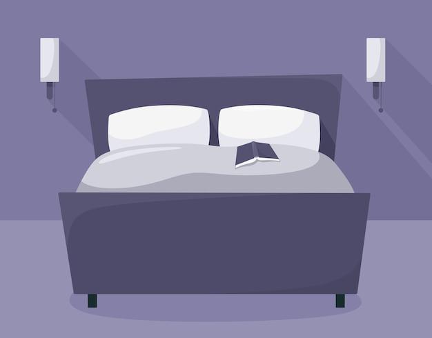 Ночная спальня с мебелью. кровать с книгой. .
