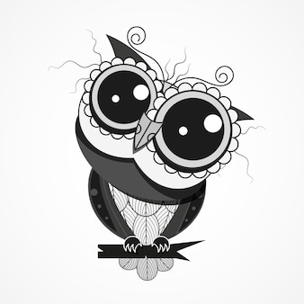 Ночная птица сова с перьями на ветке дерева дизайн для поздравительной открытки, декоративного текстиля