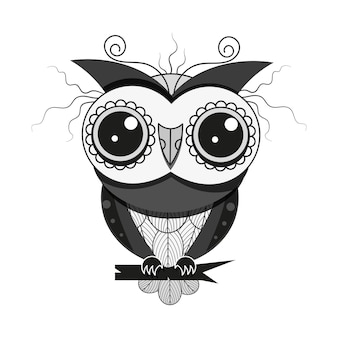 Night bird owl with feathers on a tree branch design for greeting card, decorative textile