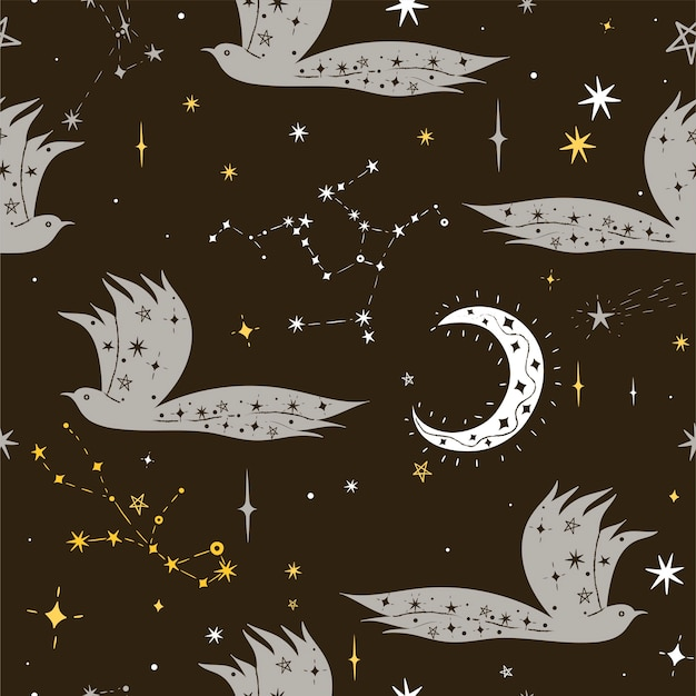 星と夜の鳥のシームレスなパターン。ベクトルグラフィックス