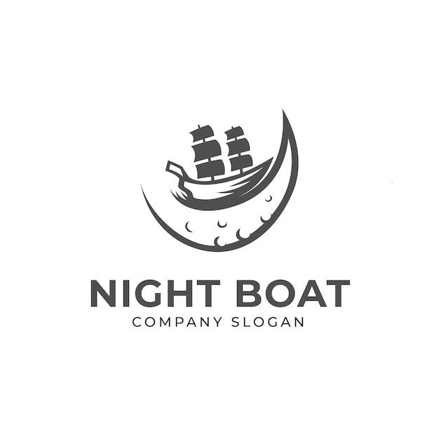 Night and boat logo template