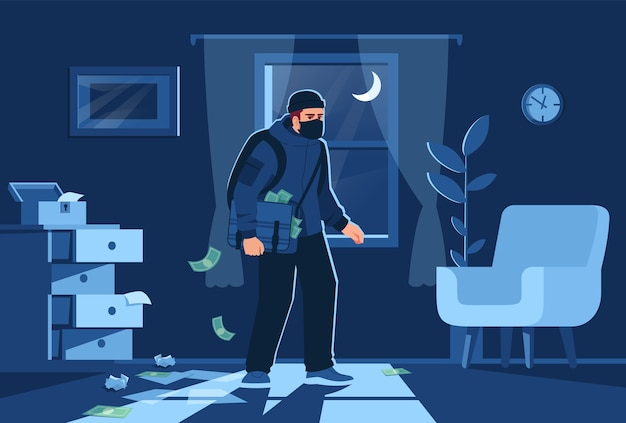 Night bulgar intrusion into apartment semi   illustration. bandit figure on window background. money and precious jewelry stealing  cartoon character for commercial use