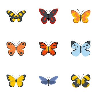 Night butterfly icon set, flat style