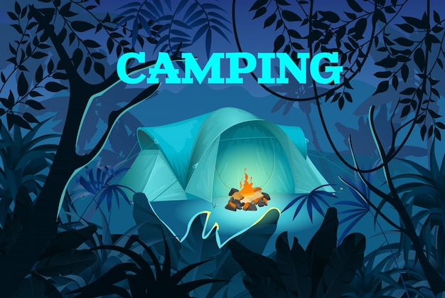 Night camping. tent with bonfire on jungle.