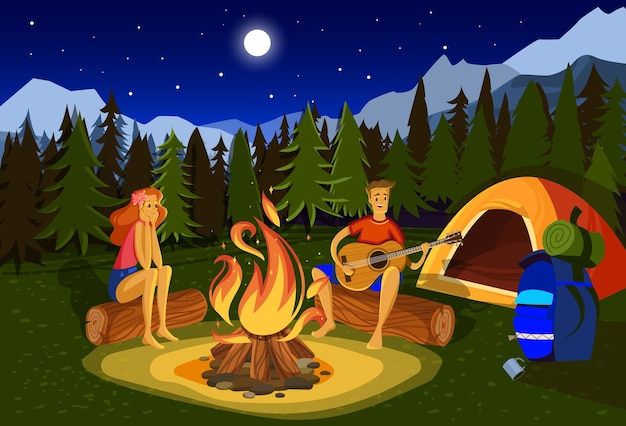 Night camping vector illustration. cartoon flat happy couple campers people sitting at campfire together, singing song, playing guitar in forest mountain nature landscape
