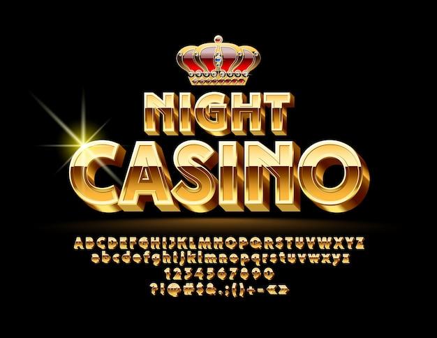 Ночное казино. роскошный золотой шрифт. набор ярких букв, цифр и символов
