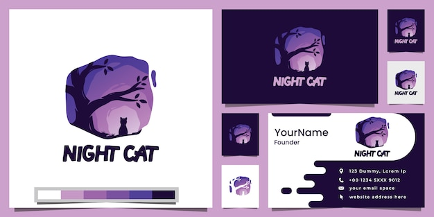 Night cat and tree logo design inspiration