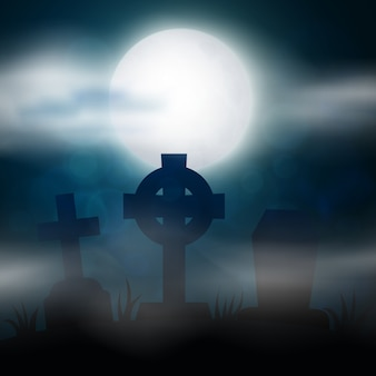 夜の墓地、十字架、墓石、墓。カラフルな怖いハロウィーンのイラスト。