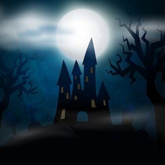 Night cemetery, crosses, tombstones and graves. colorful scary halloween illustration.