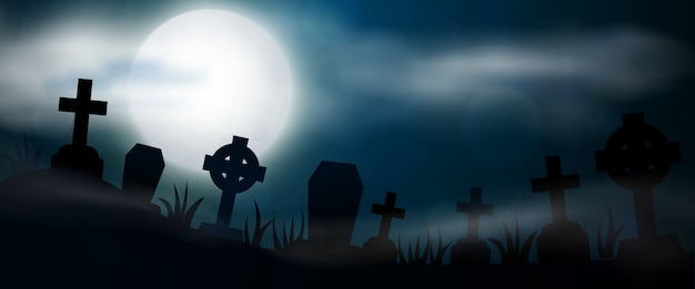 Night cemetery, crosses, tombstones and graves, horizontal banner. colorful scary halloween illustration.