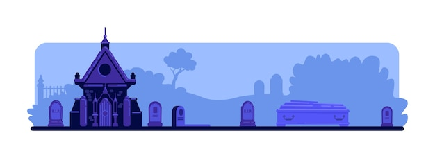 밤 묘지 평면 색상. 묘비와 오래된 지하실 건물. 관과 무덤. 배경에 묘비와 나무와 짜증 묘지 2d 만화 풍경