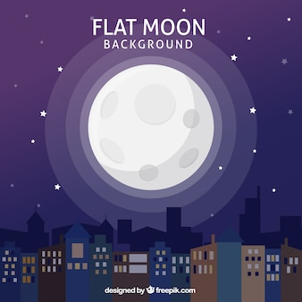Night city background with moon in flat design