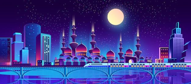 이슬람 사원으로 밤 도시 배경