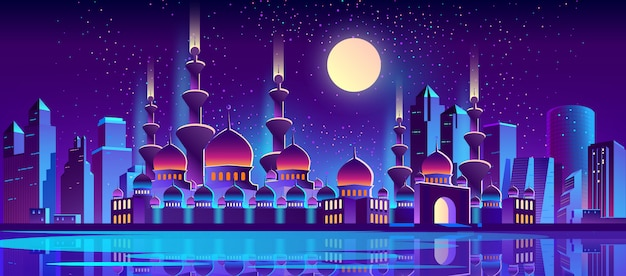 Night city background with muslim mosque