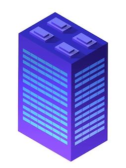 夜の街の建物のアパート住宅の超高層ビルの建築は、技術ビジネス機器フラットスタイル都市アイソメトリックイラストのアイデアです