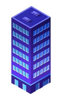 夜の街の建物のアパート住宅の超高層ビルの建築