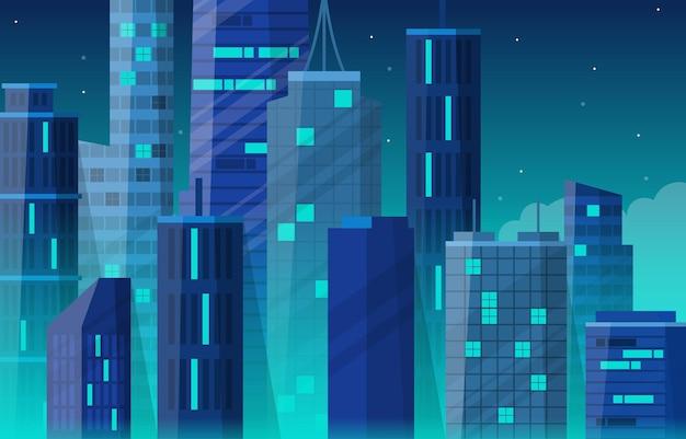 Ночной город, здание, строительство, городской пейзаж, линия горизонта, бизнес, иллюстрация