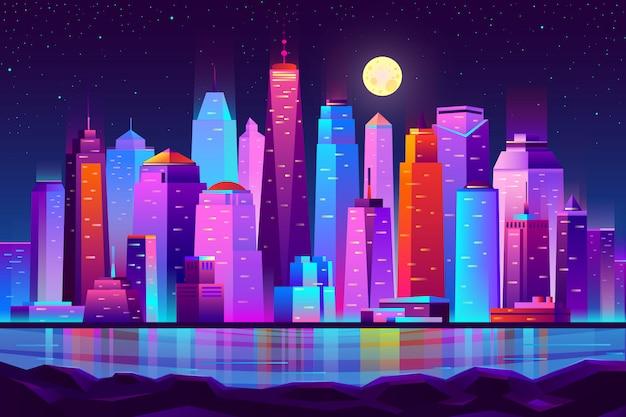 夜の街の未来的な風景の背景