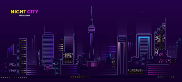 Night city illustration with neon glow and vivid colors. s web banner and printed materials.  illustration