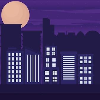 夜の街の風景イラスト