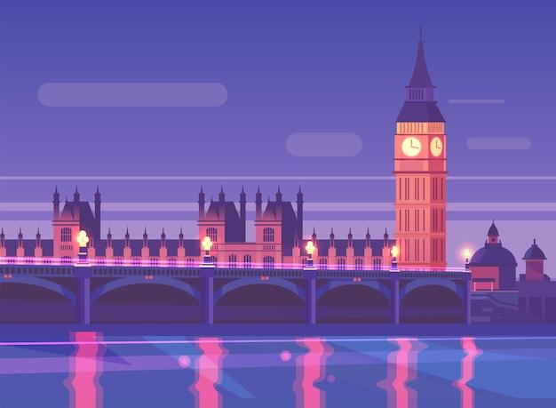 Ночной городской пейзаж вестминстерский мост движения в ночное время, лондон, англия.